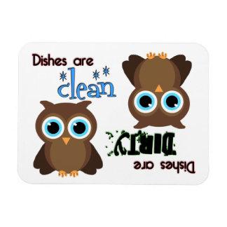 Whimsical Blue Eyed Brown Owl Dishwasher Magnet