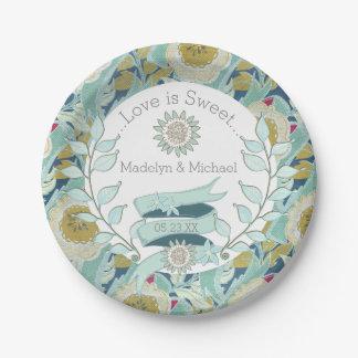 Whimsical Blue Floral Custom Wedding Paper Plates