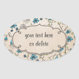 whimsical blue flowers on beige stickers