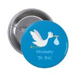 Whimsical Boy Stork Baby Shower 6 Cm Round Badge