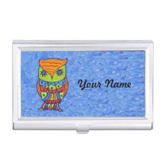 Whimsical Colorful Fantasy Owl Business Card Holder
