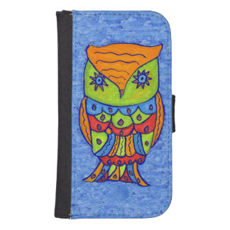 Whimsical Colorful Fantasy Owl Samsung S4 Wallet Case