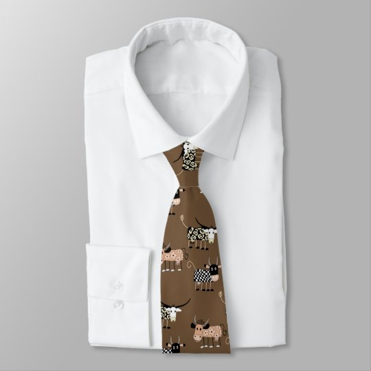 Whimsical Cow Pattern Neck Tie