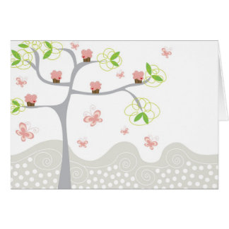 Whimsical Cupcakes Tree Butterflies Sweet Birthday Note Card