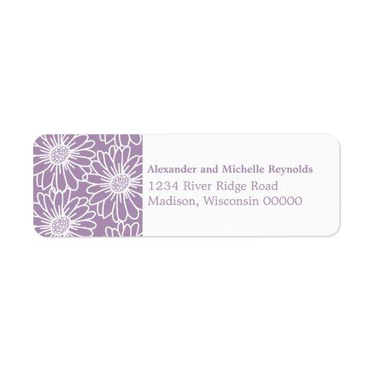 Whimsical Daisies Return Address Labels, Purple