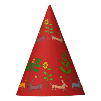 Whimsical Dogs Cats Plants Party Hat