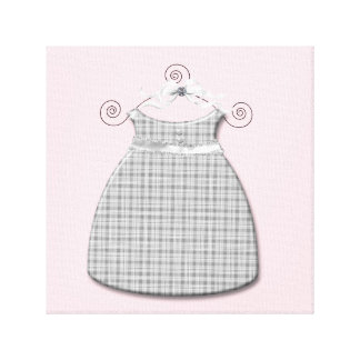 Whimsical Dress Pink and Gray Baby Girl Canvas Print