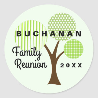 Whimsical Family Reunion Tree Green Patterned Classic Round Sticker