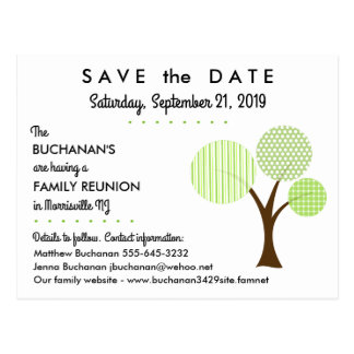 Whimsical Family Tree Reunion Save the Date Postcard