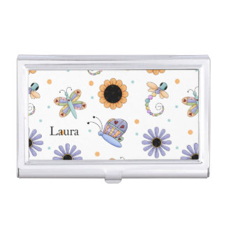 Whimsical Flowers and Bugs Mommy Card Case