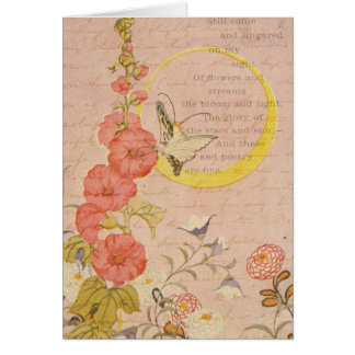 Whimsical Flowers Girly Pink Garden Moon Thank You Cards