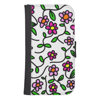 Whimsical Flowers Samsung S4 Wallet Case