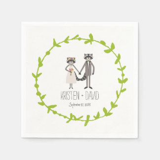 Whimsical Forest Raccoons Rustic Wedding Disposable Serviettes