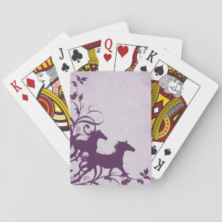 Whimsical Girly Purple Wild Horses Playing Cards