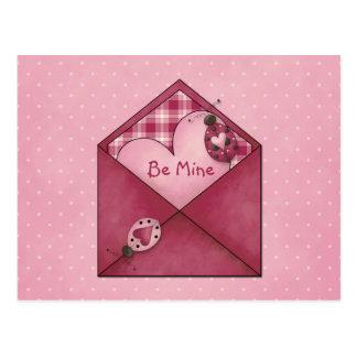 Whimsical Ladybugs Hearts on Envelope Valentine Postcard