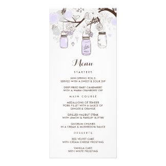 Whimsical Lilac Mason Jars Floral Menu Card Custom Rack Card