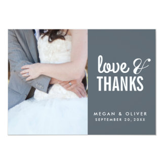 Whimsical Love & Thanks Wedding Photo Card