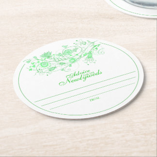 Whimsical Minty Green Advice for Newlyweds Coaster