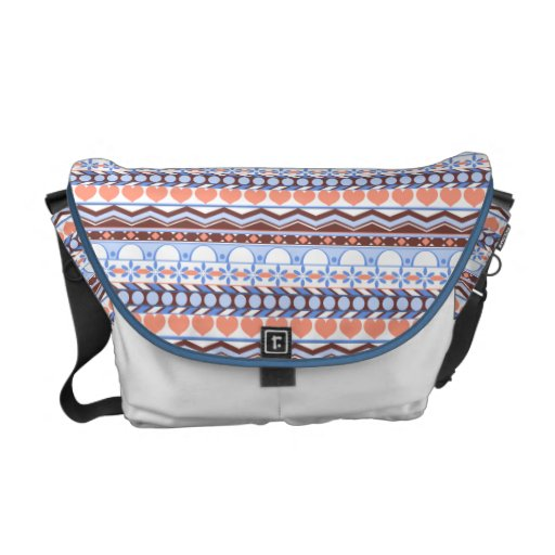 Whimsical orange and blue striped aztec pattern courier bags