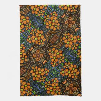 Whimsical Orange Floral Pattern Tea Towel