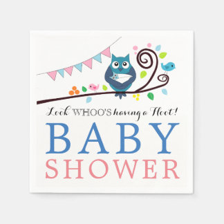 Whimsical Owl Baby Shower Paper Serviettes