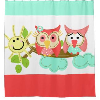 Whimsical Owls on Branch with Sunshine Shower Curtain
