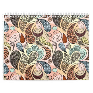 Whimsical Paisley Doodle Scribble Watercolor Calendars