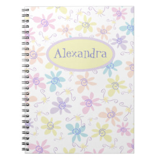 Whimsical Pastel Flowers Notebook