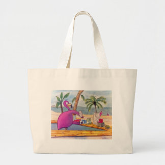 Whimsical Pink Flamingo Pours Party Drinks Beach Large Tote Bag
