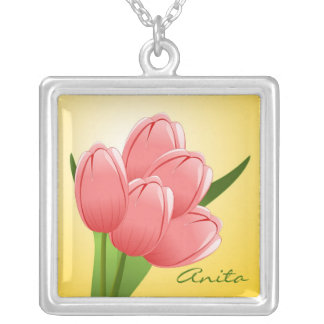 Whimsical Pink Tulip Necklace