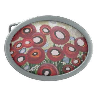 Whimsical Poppy Oval Belt Buckle