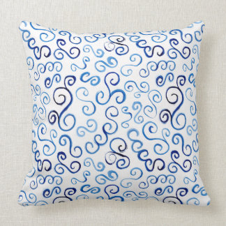 Whimsical Prussian Blue Watercolor Curves Cushion