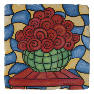 Whimsical Red Flowers In Vase Trivet