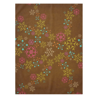 Whimsical Snowflakes on Brown Tablecloth