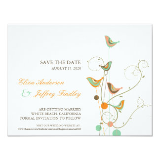 Whimsical Summer Birds & Swirls Save The Date Card