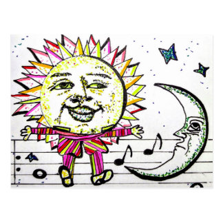 Whimsical Sun and Moon Postcard
