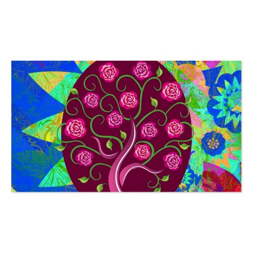 Whimsical Tree of Life Roses Colorful Abstract Business Card Templates
