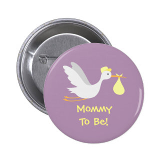 Whimsical Unisex Stork Baby Shower 6 Cm Round Badge