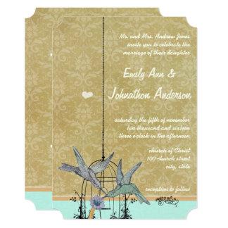 Whimsical Vintage Bird Cage Wedding Invitations