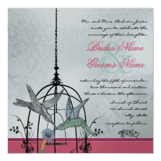 Whimsical Vintage Bird Cage Wedding Invitations