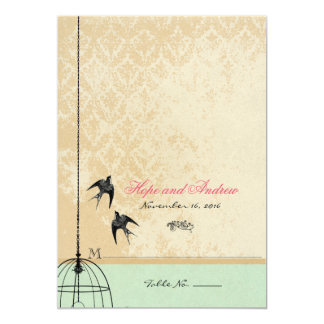 "Whimsical Vintage Bird Cage Wedding Invitations 5"" X 7"" Invitation Card"