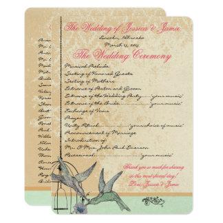 Whimsical Vintage Bird Cage Wedding Program 13 Cm X 18 Cm Invitation Card