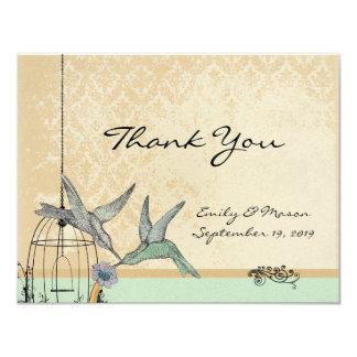 Whimsical Vintage Bird Cage Wedding Reception Card 11 Cm X 14 Cm Invitation Card