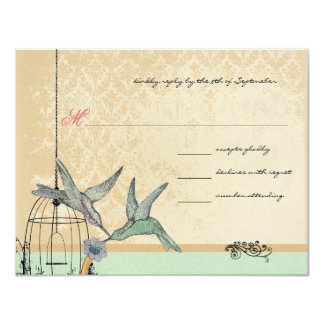 Whimsical Vintage Bird Cage Wedding RSVP 11 Cm X 14 Cm Invitation Card