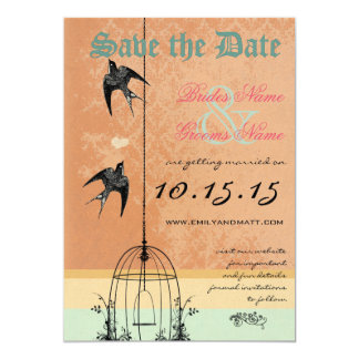 """Whimsical Vintage Bird Cage Wedding Save the Date 5"""" X 7"""" Invitation Card"""
