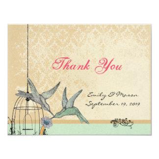 Whimsical Vintage Bird Cage Wedding Thank You Card