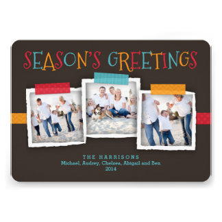 Whimsical Washi Tape Photo Season s Greeting Invite