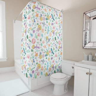 Whimsical Watercolor Insects Flowers & Leaves Shower Curtain