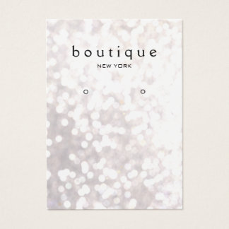 Whimsical White Bokeh Earring Display Card