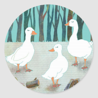 Whimsical White Geese Classic Round Sticker